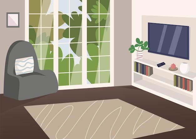Illustration de couleur plat salon spacieux