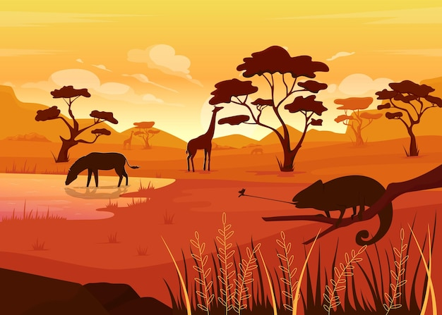 Illustration couleur plat savana.