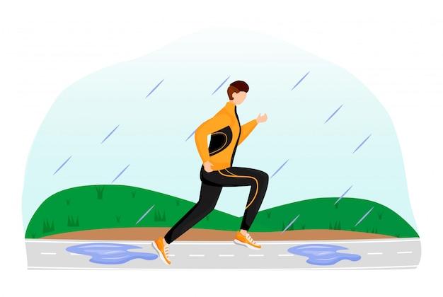 Illustration de couleur plate athlète. homme en tenue de sport et baskets. jour de pluie. sportif en cours d'exécution. temps humide. homme sur la piste de course personnage de dessin animé sans visage avec de l'herbe sur fond