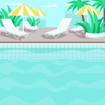 Illustration de couleur plate au bord de la piscine. hôtel résidentiel. complexe tropical haut de gamme. palmiers et plantes. eau bleu clair. piscine dessin animé paysage 2d avec chaises longues et parasols sur fond