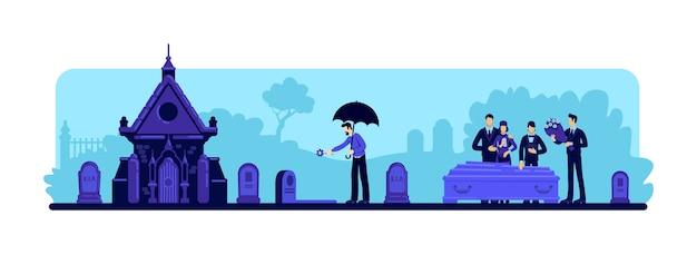 Illustration couleur plate cérémonie funéraire