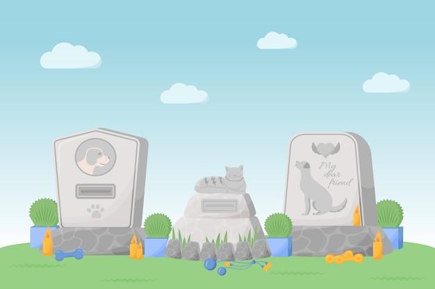 Illustration de couleur plate commémorative pour animaux de compagnie