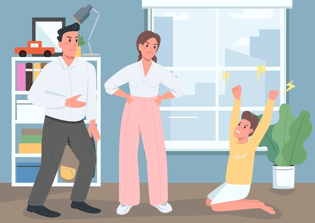 Illustration de couleur plate de conflit familial