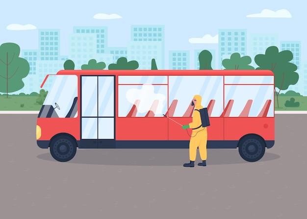 Illustration de couleur plate de désinfection des transports publics protection contre la propagation virale précaution épidémique personnage de dessin animé de travailleur de la santé avec bus vide sur