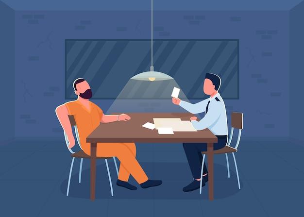 Illustration de couleur plate d'interrogatoire de police. place à l'enquête. le flic interroge le suspect pour la confession. policier et prisonnier personnages de dessins animés 2d avec intérieur du département sur fond