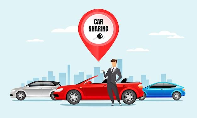 Illustration de couleur plate de partage de voiture