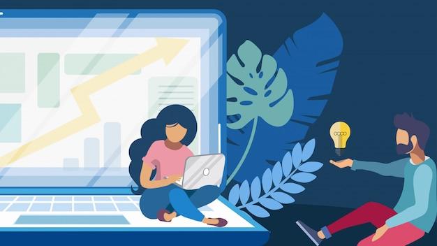 Illustration de couleur plate pour le brainstorming coopératif