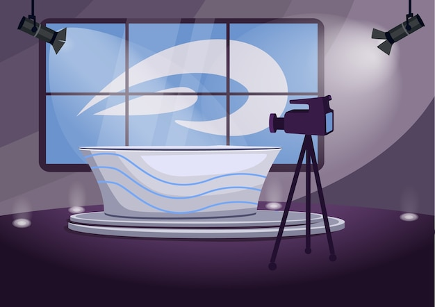 Illustration de couleur plate scène de tournage du programme de nouvelles