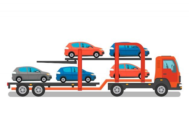 Illustration de couleur plate de service de transport de voiture