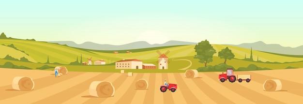Illustration de couleur plate des terres agricoles