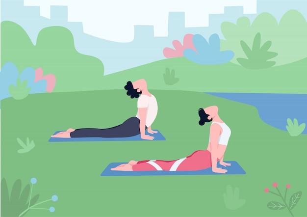 Illustration de couleur plate de yoga en plein air. jeune couple, homme et femme en cobra posent des personnages de dessins animés 2d avec la nature sur fond.