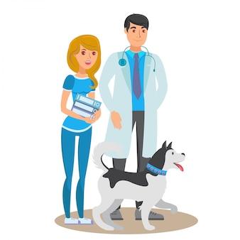Illustration de couleur pour animaux de compagnie service service vector plate