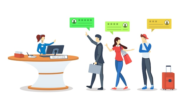 Illustration de couleur rvb semi-plate. commentaires client, client. clients à la réception. évaluation de la qualité. classement. revoir le concept. personnage de dessin animé isolé sur blanc