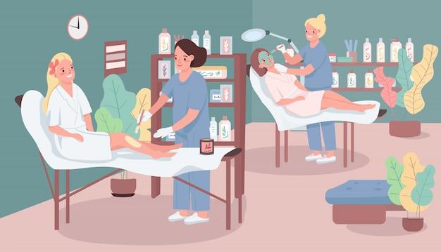 Illustration de couleur de salon de beauté. femme, mettre, cire, client, jambe masque facial féminin. personnages de dessin animé esthéticienne avec des meubles de centre de spa sur fond