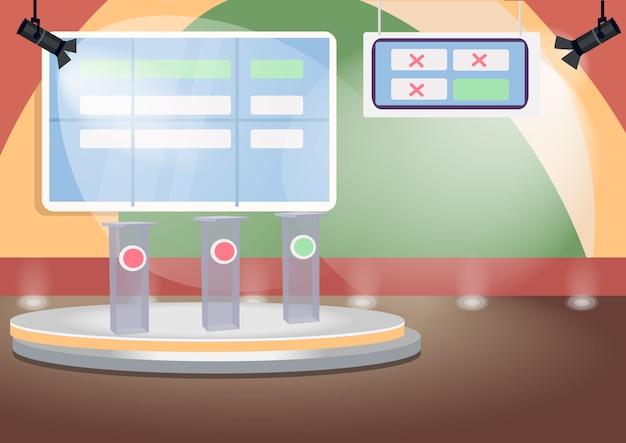 Illustration de couleur de scène de quiz vide