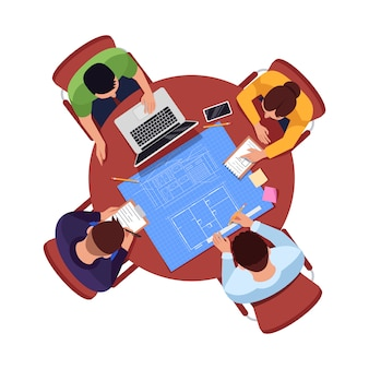 Illustration de couleur semi-rvb de plan d'équipe d'architecte