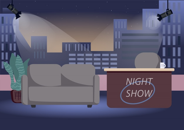 Illustration de couleur studio vide chat show