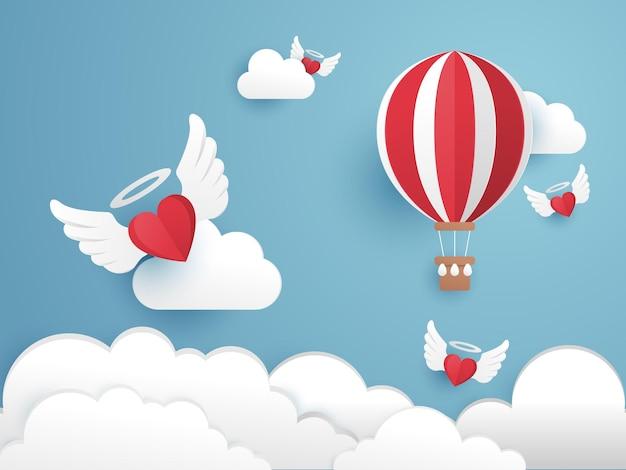 Illustration de coupe de papier de la saint-valentin