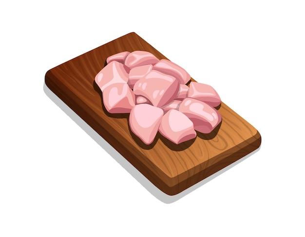 Illustration de coupes de frites tendres de poulet cru sans peau disposées sur une base en bois, image png, isolée.