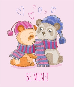 Illustration de couple amour animal mignon