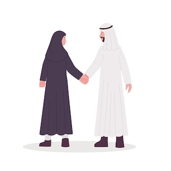 Illustration de couple arabe marchant ensemble