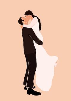 Illustration d'un couple élégant s'embrassant
