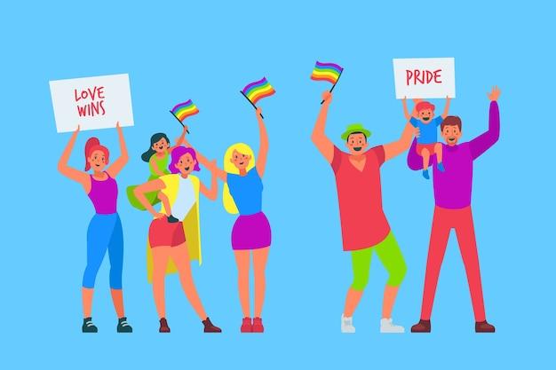 Illustration couple et famille célébrant le jour de la fierté
