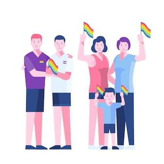 Illustration avec couple et famille le jour de la fierté