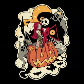 Illustration de couple halloween pour personnage, autocollant, illustration de t-shirt