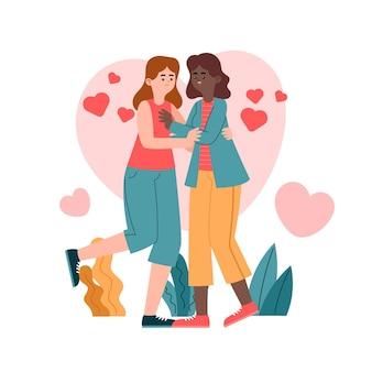 Illustration de couple lesbien plat organique