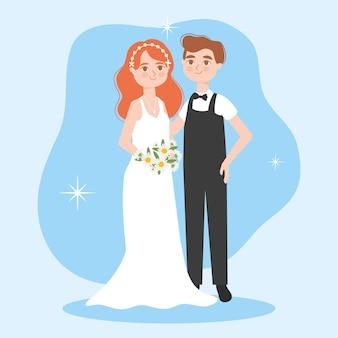 Illustration de couple de mariage de dessin animé