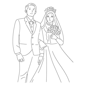 Illustration avec couple de mariage