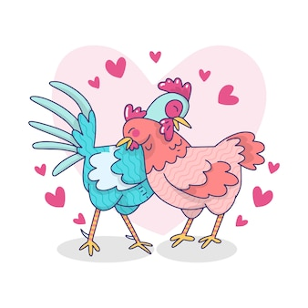 Illustration de couple mignon coq et poule