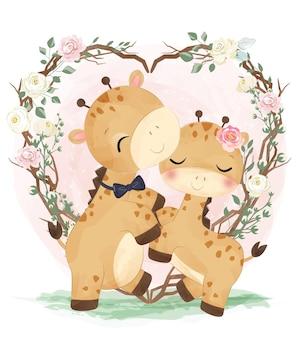 Illustration de couple mignon girafe à l'aquarelle