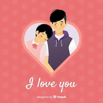 Illustration avec couple pour la saint-valentin