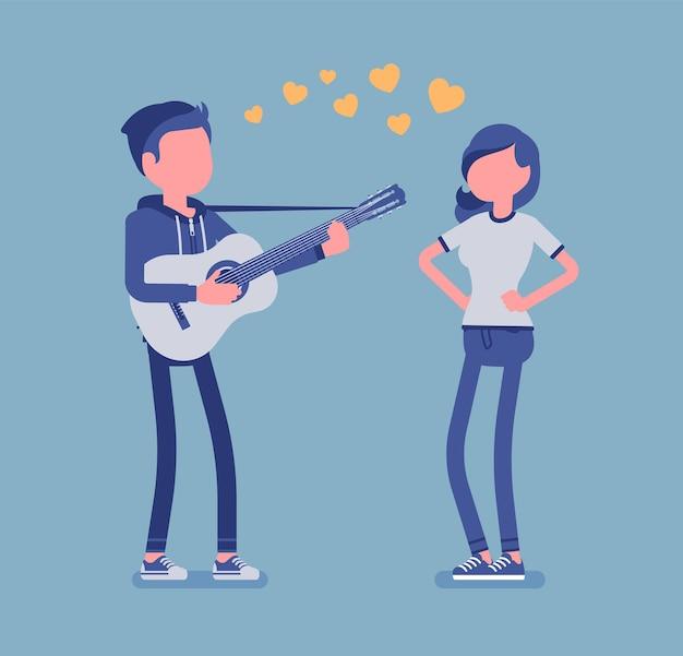 Illustration de couple de rencontres sérénade