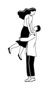 Illustration de couple romantique homme tenant une femme sur les mains illustration de griffonnage de jeunes heureux