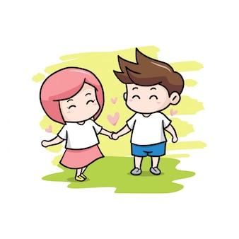 Illustration de couple saint valentin