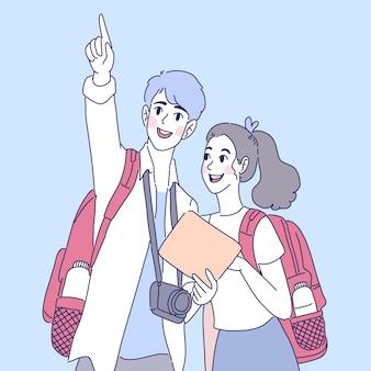 Illustration de couple voyageur