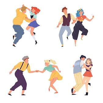 Illustration, couples, danse, torsion, ensemble