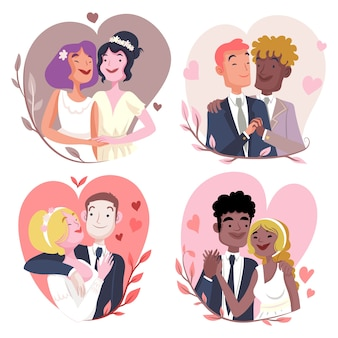 Illustration de couples de mariage