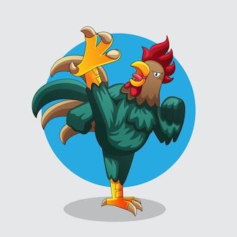 Illustration de coups de pied de poulet kungfu
