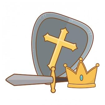 Illustration de couronne et épée de bouclier isolé
