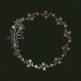 Illustration de couronne florale doodle mignon