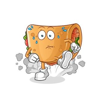 Illustration en cours d'exécution burrito. personnage
