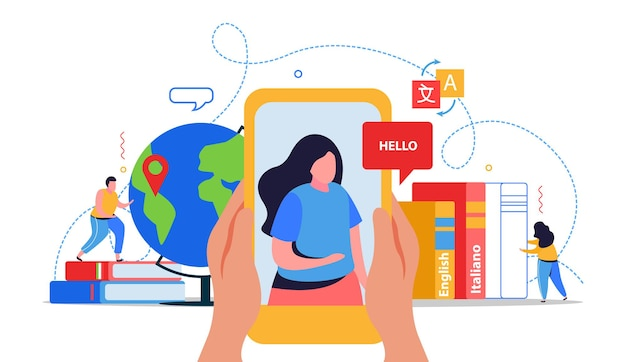 Illustration de cours de langue en ligne
