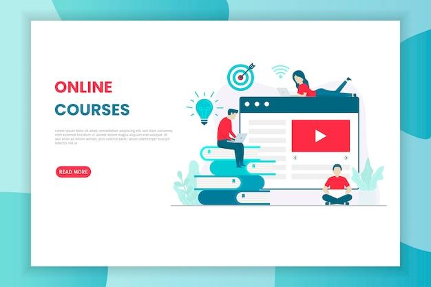 Illustration de cours en ligne design plat