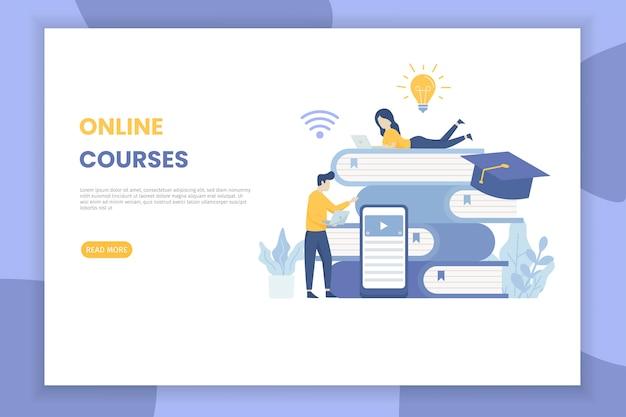 Illustration de cours en ligne page de destination pour le site