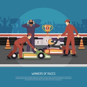Illustration de course de moteur de karting