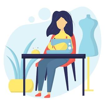 Illustration d'une couturière flower girl coud sur une machine à coudre lieu de travail des couturières